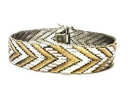 Antik 835  Luxus Armband Bicolor silber gold Juwelierarbeit schwer Silberarmband  ZigZag Muster