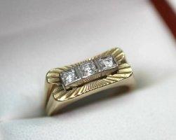 Antik Diamantring 585 gold ring Gelbgold weissgold bicolor