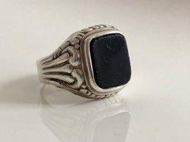 Antik Jugendstil 835 Silber Onyx Ring  Unisex Herren Damen Silberring Art Deco