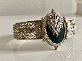 Antik Jugendstil 925 Silber Armreif Silberarmband Armband Edelstein Malachit Cabochon
