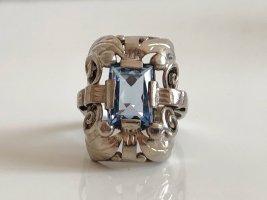 Antik Jugendstil Art Deco 835 Silber Ring Silberring Aqua blau