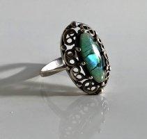 Antik Jugendstil Art Deco Abalone Paua Muschel 925 Silber Ring Silberring