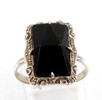 Antik Jugendstil Onyx Silberring 830er Silber Ring