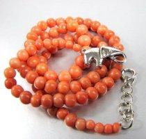 Antik Lachskoralle Kette Koralle collier silber 925 Perlen Perlenkette Silberkette