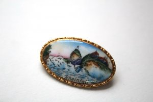 antik Broche goud-blauw