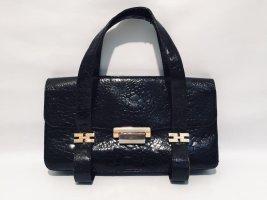 Antike schwarze Kroko-Handtasche