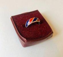 Antiker Ring 835 Silber mit Emaille Goldschmiede Arbeit