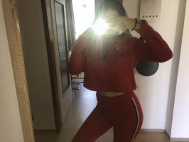 Jersey twin set rood