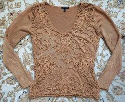 Apart Sweter z dekoltem w kształcie litery V camel Jedwab
