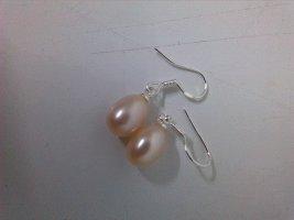 Kolczyk z perłą srebrny-brzoskwiniowy