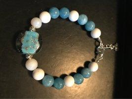 Handarbeit Brazalete de perlas blanco-azul aciano