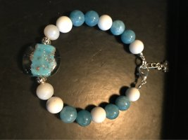 Handarbeit Pearl Bracelet white-cornflower blue