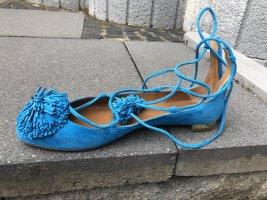 Aquazzura Ballerina's met bandjes korenblauw Suede