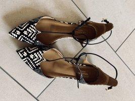 Aquazzura Ballerines à lacets noir-blanc cuir