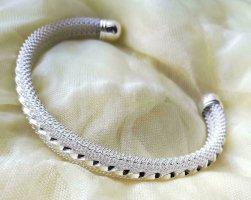 Sztywna bransoletka biały-srebrny