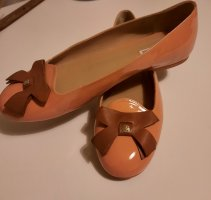 Emporio Armani Ballerines en cuir verni orange foncé cuir