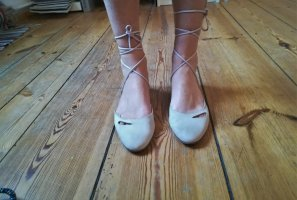Armani Ballerines à lacets beige clair-rosé daim