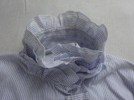 Armani Jeans Bluse großer Rüschenkragen hellblau/weiß