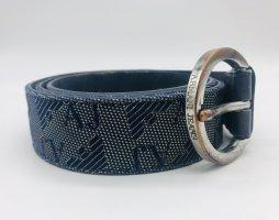 Armani Jeans Ceinture en cuir bleu foncé-argenté