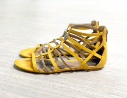 Armani Jeans Roman Sandals dark yellow leather