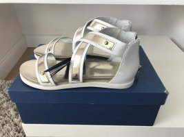 Armani Jeans Roman Sandals white-gold-colored leather