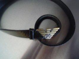 Giorgio  Armani Cinturón de cuero negro-color oro Cuero