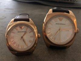 Emporio Armani Reloj con pulsera de cuero marrón-color bronce