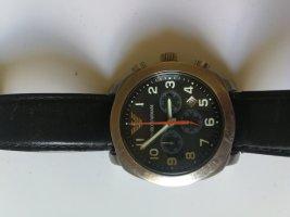 Emporio Armani Montre avec bracelet en cuir noir