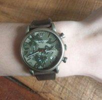 Armani Montre avec bracelet en cuir vert olive-kaki