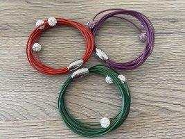 Armbänder Set in rot, grün und lila