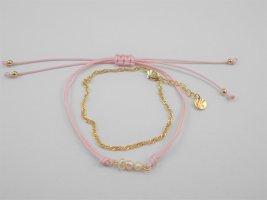 Armbänder Set, vergoldet, Süßwasserperlen, Goldarmband
