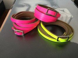 Bracelet en cuir rose fluo-jaune fluo