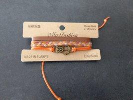 Armband Anker Orange braun Leder Handarbeit Neu