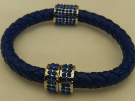 Bangle ciemnoniebieski-srebrny Tkanina z mieszanych włókien