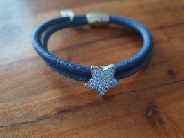 Leather Bracelet azure-steel blue