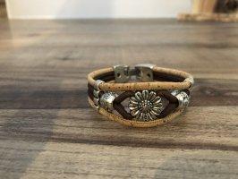 Bracelet en cuir marron clair-argenté