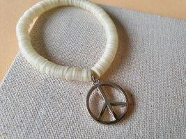 Armband Creme Armschmuck Peace Hippie Boho
