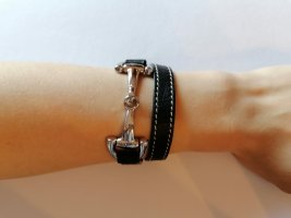 Dimacci Lederen armband zwart-zilver