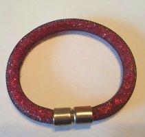 Pulsera color plata-rojo frambuesa