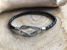 handmade Leather Bracelet black-silver-colored leather