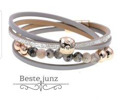 Armband Grau Damenschmuck perlen Leder