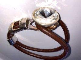 Bracelet en cuir brun-argenté