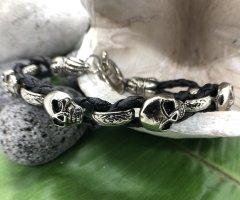 Handmade Lederen armband zwart-zilver Leer
