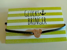Armband/Leder vegan braun mit Mickey Mouse aus 925 Silber/rosevergoldet
