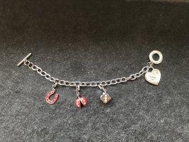 Bracelet à breloques gris clair-rouge
