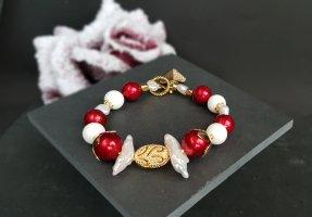 Bracelet en perles blanc-rouge brique