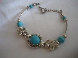 Armband lichtgrijs-neon blauw