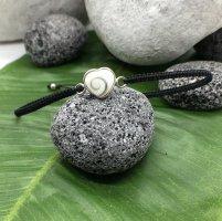 Armband Silber 925 Shevas Auge Herz Design 1x1 cm Baumwollbändchen schwarz 3mm