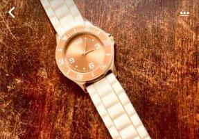 Reloj digital blanco-marrón