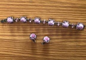 Armband und Ohrringe Velvet glitz rosa samt